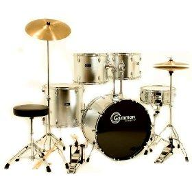 discounted silver drum set for sale with cymbals hardware and stool new gammon 5 piece kit. Black Bedroom Furniture Sets. Home Design Ideas