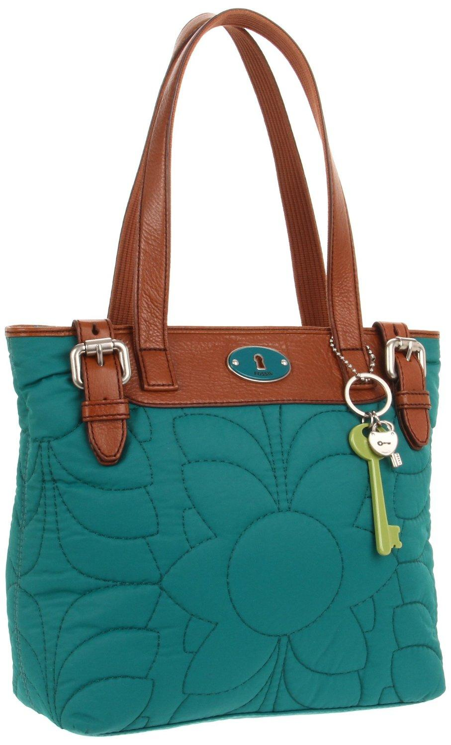Discounted Fossil Handbags Tessa Satchel Blue Key Per Shopper Handbag Peacock