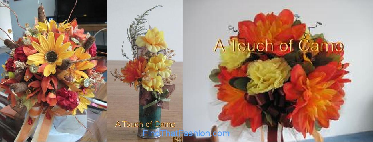 Camo Wedding Flower Bouquets